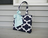 Navy and White  Tote Bag, Every Day Bag, Diaper Bag with  Baby  Pink Bow or Baby Blue