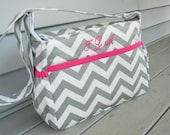 Gray Chevron Diaper Bag with Monogram  - Custom Your order with the Color of your choice