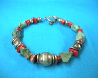 """FREE SHIP 7.75"""" sterling, coral and natural turuqoise nugget bracelet - BearlyArtDesigns Store"""