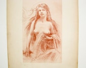 Nude Print 1910,  Female Nude Lithographs