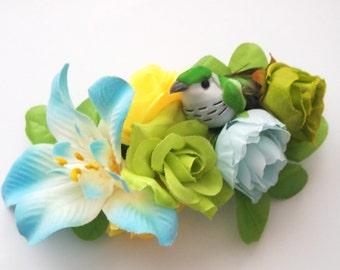 Songbird Floral Barrette-Hibiscus Flower-Statement Piece-Woodland Wedding-Fairy Bride-Offbeat Bride-Ren Faire Fashion-Floral Crown-Prom Hair