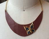 Brown leather statement bib necklace  with vintage butterfly