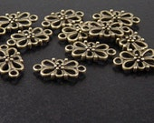 Jewelry Connectors 12 Antique Bronze Filigree 2-Ring Victorian 16mm NF (1012con16z1)