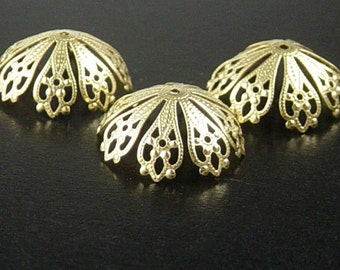 CLEARANCE Bead Cap 10 Antique Gold Color Flower Filigree Bendable 20mm x 7mm 8 Point NF (1029cap20d1)os