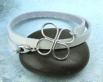CLOVER WRAP BRACELET with handmade clover centerpiece sterling silver leather wrap bracelet