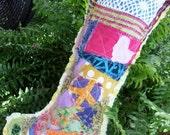 Shabby Hippie Chic, Christmas Stocking, Crazy quilt, Peace love, primitive stocking, boho, patchwork, rag quilt , bohemian, hippie christmas