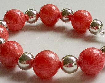 """Coral Shell Pearl and Silver Bracelet 8"""" Original Handmade Summer Free Shipping"""