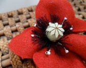 Ruby Red Felt & Leather Poppy Hair Clip Accessory Adornment