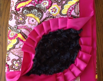 Pink and Brown Paisley Minky and Satin Lap Blanket....READY TO SHIP