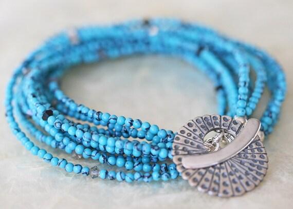 Layered Bracelet- Turquoise Bracelet- Howlite Bracelet - Multi Strand Bracelet- Ready to Ship -