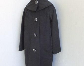 Vintage 1950s/60s Coat, Classic Black Full Length Wool Coat,  Black  Coat