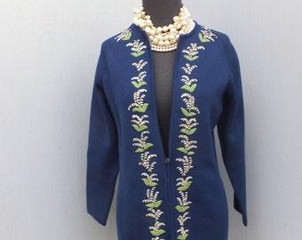 Vintage I. Magnin Sweater/Cardigan / 100% Wool / NAVY BLUE