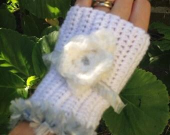Crochet Gloves Fingerless Gloves Womens Mitts White Blue