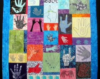 What's In Your Hand?  Modern  Fiber Arts Quilt | Batik Fabrics Wall Art Hanging