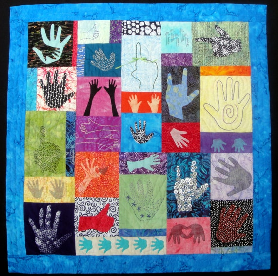 What's In Your Hand?  Quilting Fiber Arts Wall Art Hanging Batik Fabrics
