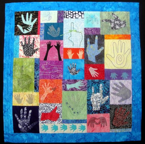 What's In Your Hand?  Quilting Fiber Arts Wall Art Hanging Batik Fabrics