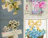 Easter vintage postcard, Easter Postcards Grab Bag #138. Lot of 4 vintage postcards, Easter flowers, landscapes, crosses, egg shells