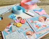 Scrapbooking Layout - Graphic 45 Paper - Embellishment Kit - Journaling Spot - Baby Shower - Precious Memories
