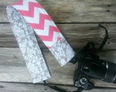 Padded DSLR camera strap cover, reversible padded camera strap cover, slip on strap cover in prissy pink chevron and grey damask