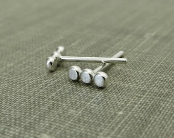 Sterling Silver Dotted Stud Earrings - 3 Flat Dots - 1/4 Inch - Small and Dainty - Simple Modern Minimal Wire Jewelry