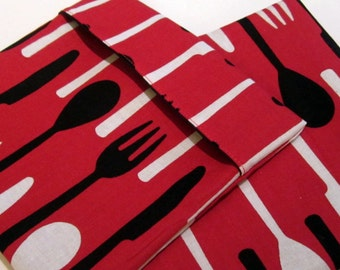 Lined Sandwich Bag--Utensils on Red--white lining