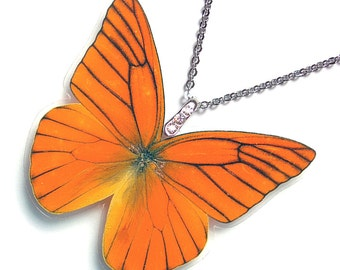 Real Butterfly Wing Necklace (WHOLE Appias Nero Butterfly - W105)