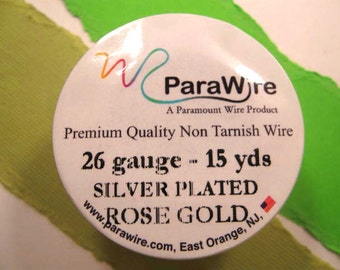 Silver Plated Rose Gold - 26 Gauge Wire from ParaWire - 15 yard Spool