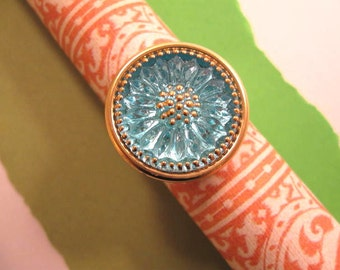 "Adjustable Finger Ring in Antique Gold with Czech Glass Button ""Starburst"" designed by Mary Louise"