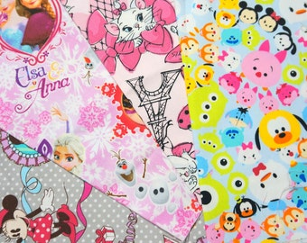 Disney licensed  fabric Disney  Character Disney tsum tsum marie Anna Elsa and Minnie mouse Printed in Japan ©Disney