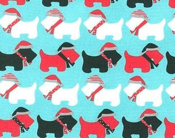 Clearance FABRIC SCOTTIE DOGS Jingle on Aqua Christmas 1/2 yard