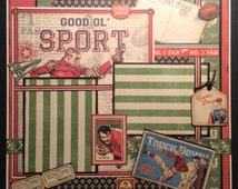Football Scrapbook Layout, Graphic 45 Good 'ol Sport, 12x12 single page layout, Vintage Football Layout, Premade Sports Scrapbook Layout