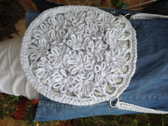 Crochet Circle Bag : Circle Crochet Bag Womens Crochet Bag Soft Gray by knitcrochetshop