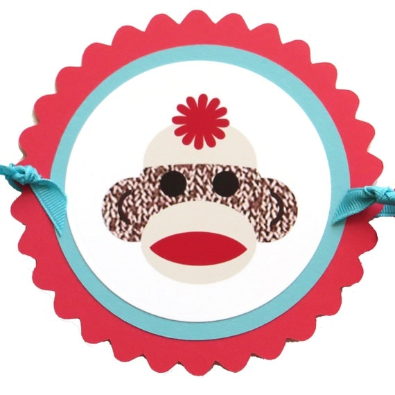 Sock Monkey Banner - Happy Birthday, Scalloped Circles, Made to Order with Your Favorite Colors