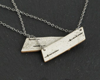 Birch bark necklace, Long point