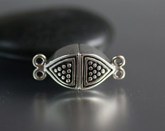 Sterling Silver Magnetic Clasp - Dotted - Magnetic Clasp - Two Strand