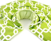 Neck Shoulder Back, Neck Warmer Pillow, Hot Cold Therapy, Microwave Heat Pack, rice bag with flax,  green white geometric