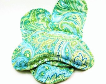Hot Cold Packs, Heated Insoles Eye Pillow, Microwave Heat Packs Pads, rice flax seed, green paisley