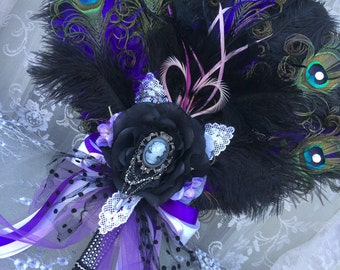 Steampunk Extravagant Vintage Glam Feather Fan in Black, Purple, Lavender, Silver, Lace, Cameo and Pearls!