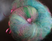 Tropical Vacation spinning batt with merino, llama and border leister locks, 2 oz