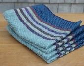 set of 4 handwoven cloth napkins: sky + stripes