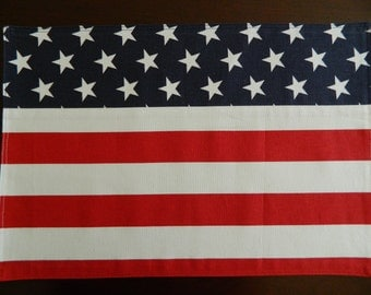 American Flag Placemats. Patriotic Placemats. Set of 2. Red, White, and Blue Placemats. Military Gift. 4th of July Placemats.