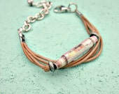 Pink Salvaged Paper Bead and Tan Leather Cord Adjustable Bracelet: Soto RESERVED FOR LAURA