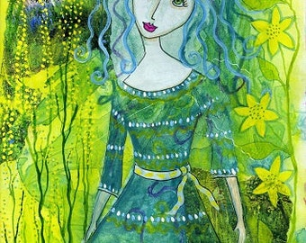 At One With Nature. Art print from my mixed media painting, wall art, A4