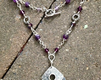 Amethyst Power of Light Hand Linked Sterling Silver Necklace w Hand Stamped Spirals, Swarovski Crystals, Silver Chain - Mermaid Jewelry