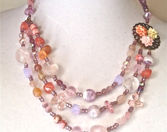 pink statement necklace beaded jewelry necklace Multi strand necklace Pink gemstones necklace OOAK necklace handmade statement Necklace