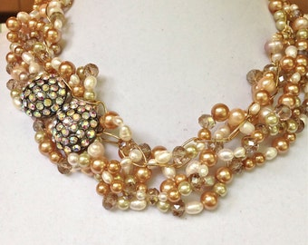 bridal statement pearl necklace, pearl beaded handmade statement necklace one of a kind pearl necklace wedding jewelry