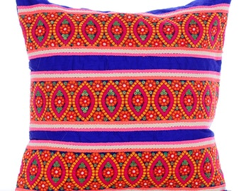 """Royal Blue Decorative Pillow Cover,  Square  Multicolor Lace Embroidered Art Deco Indian 16""""x16"""" Silk Pillows Cover - Indian Accents"""