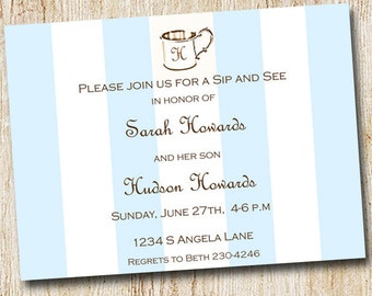Baby Shower  Invitations - Digital File- Sip and See Invitation - Sip & See- Silver Cup