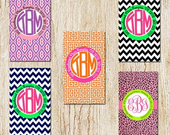 Circle Monogram Luggage Tag - Personalized Tag - Diaper Bag Tag - Bridemaids Gifts (with priority shipping)