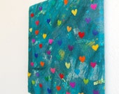 SALE - Ocean of love - A felted painting inspired by magical oceans and colourful love hearts. Original felt painting art on a Canvas Frame
